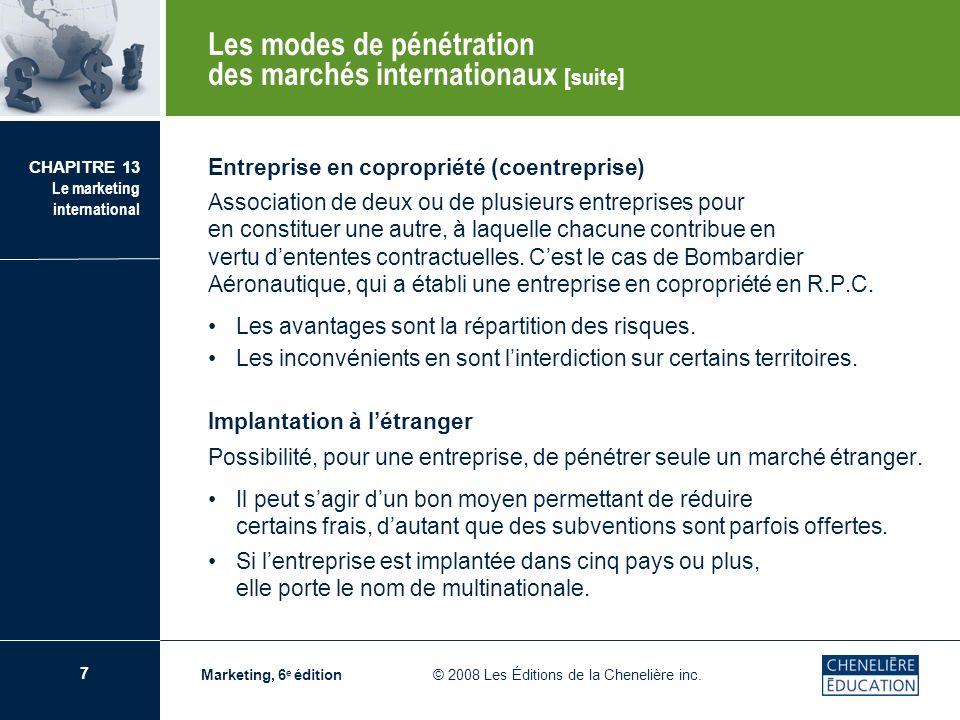 Les modes de pénétration des marchés internationaux [suite]